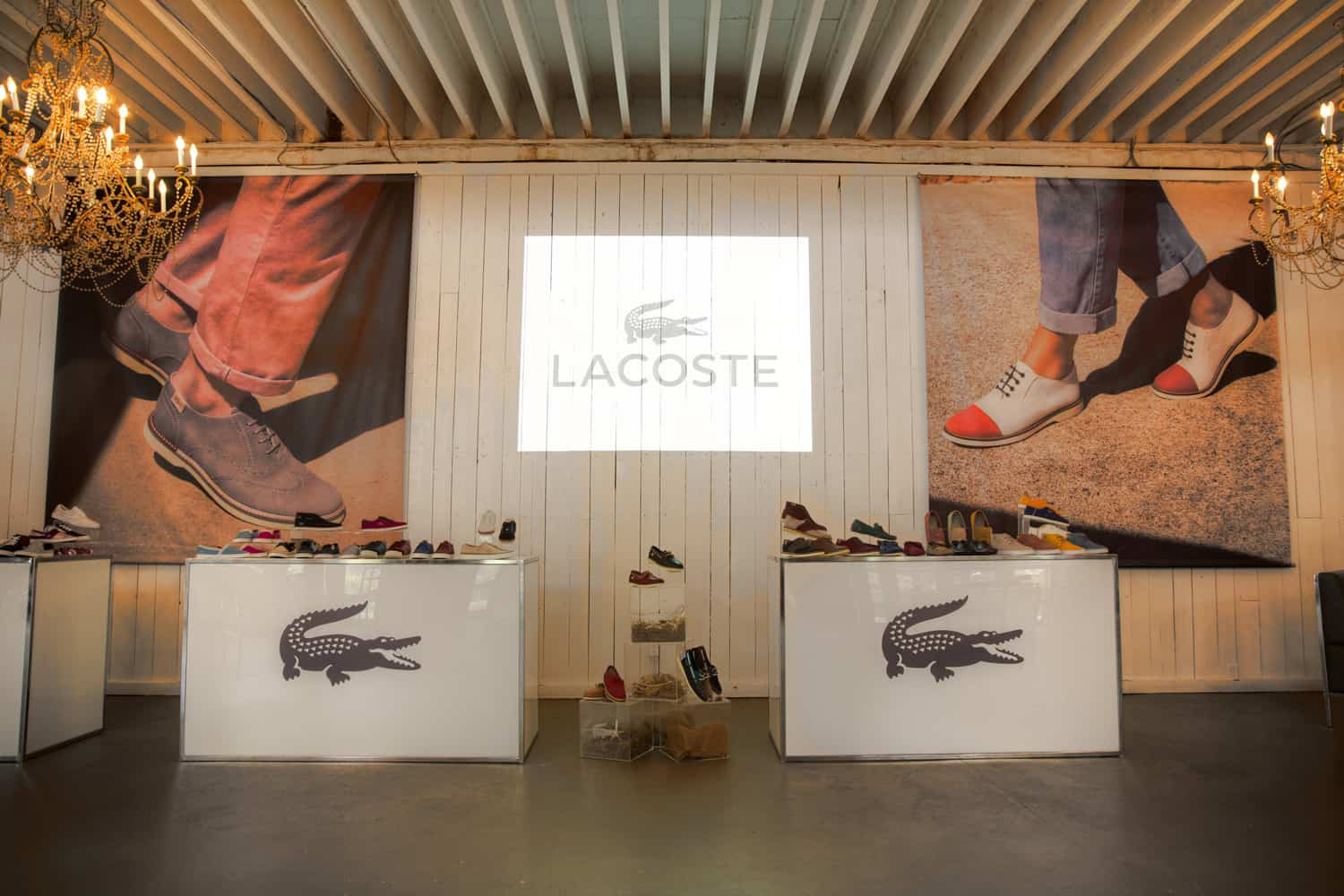 Locoste product launch at the Berkeley Field House event venue with two tables with locoste logo and projection on the wall