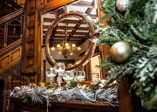 Christmas decorations at the BBC drape around a mirror