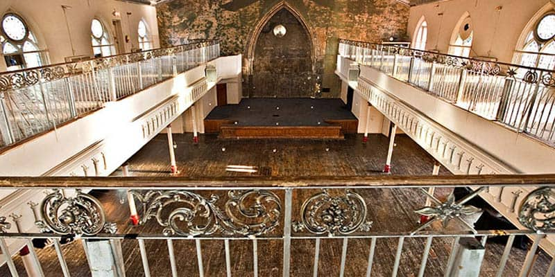 Mezzanine view from the church looking at the stage