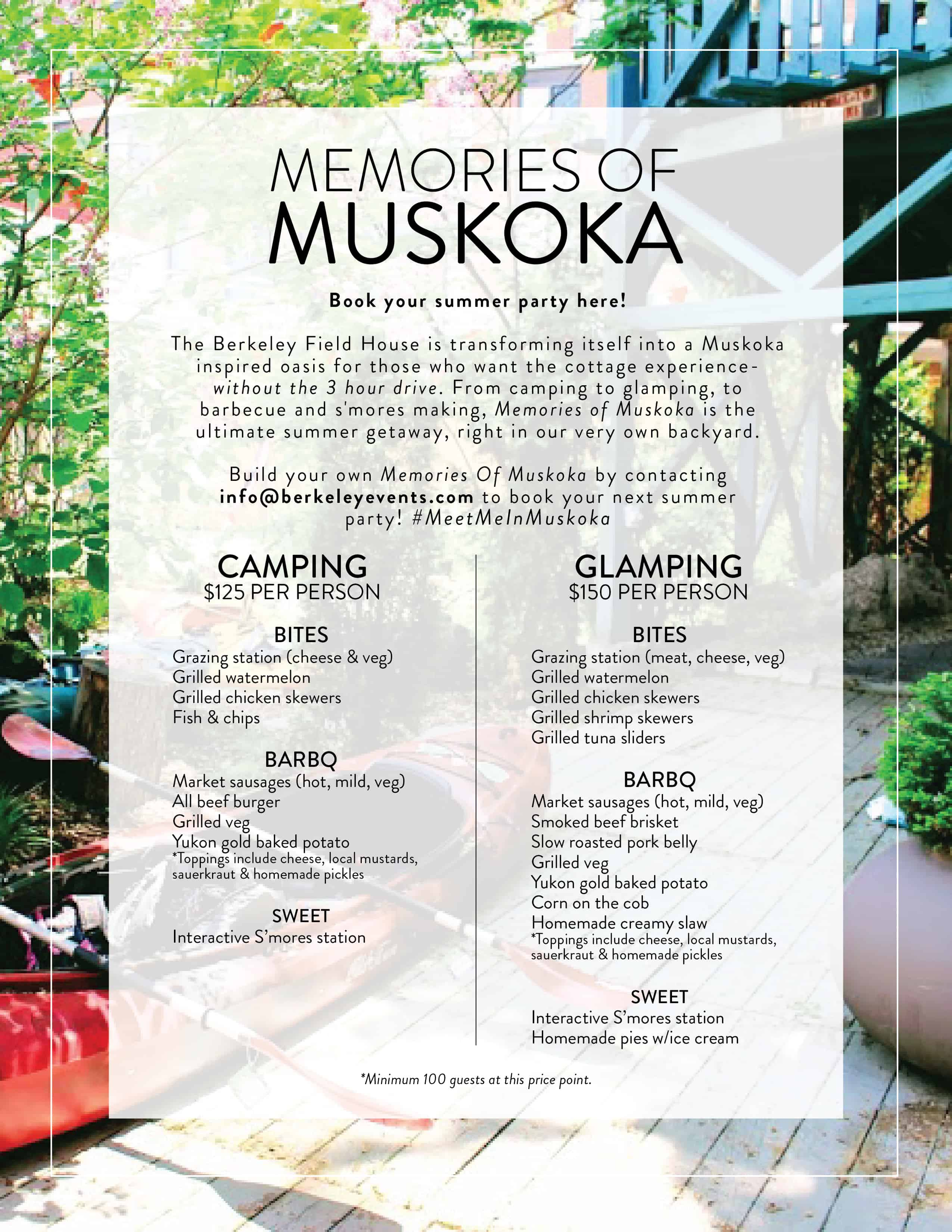 Memories of Muskoka flyer for Berkeley Field House