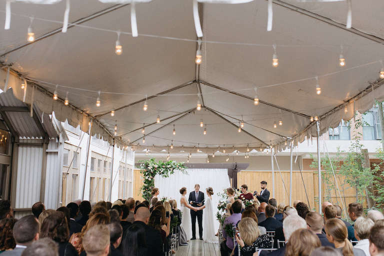 Same sex outdoor wedding ceremony at Berkeley Field House