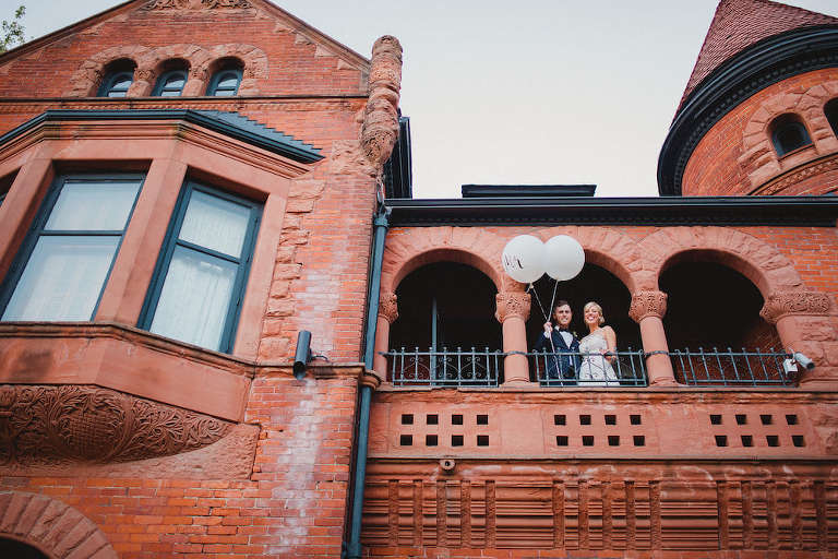 Wedding couple at old Toronto mansion