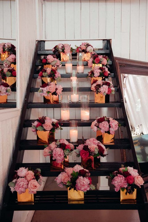 Floral arrangement on staircase