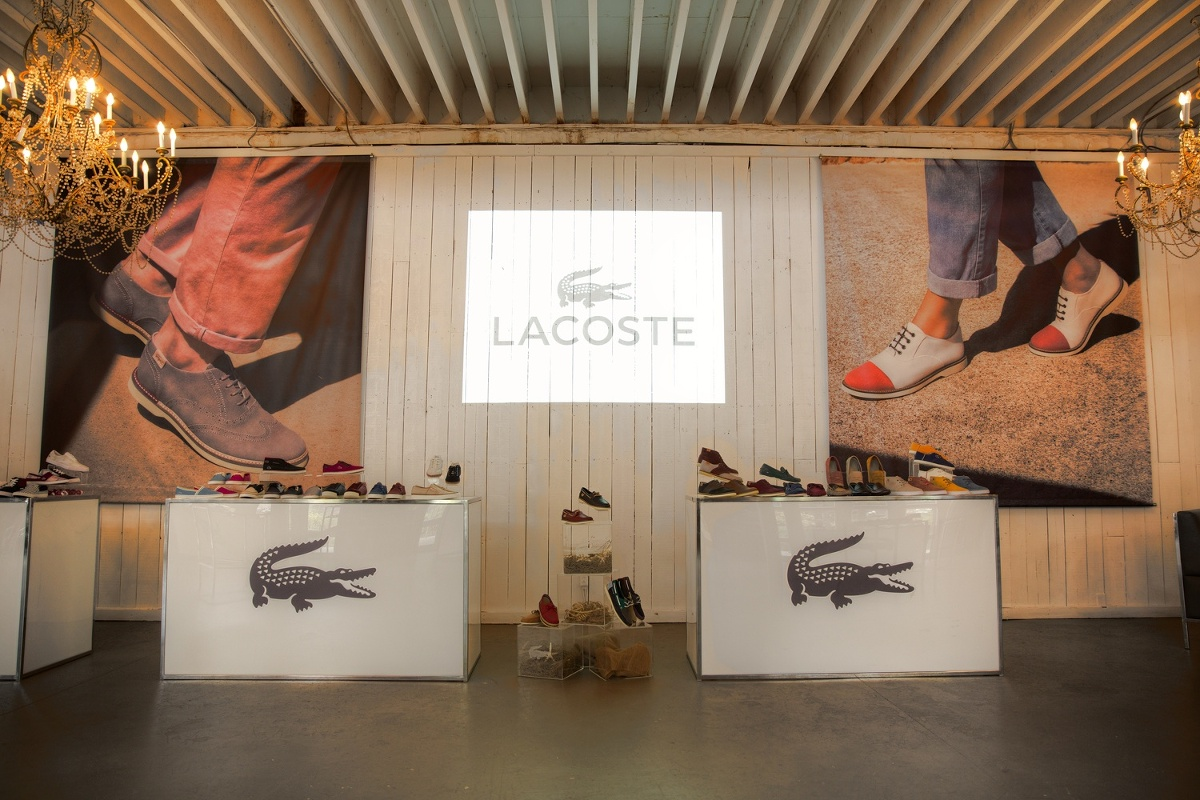 Lacoste product launch shoe display