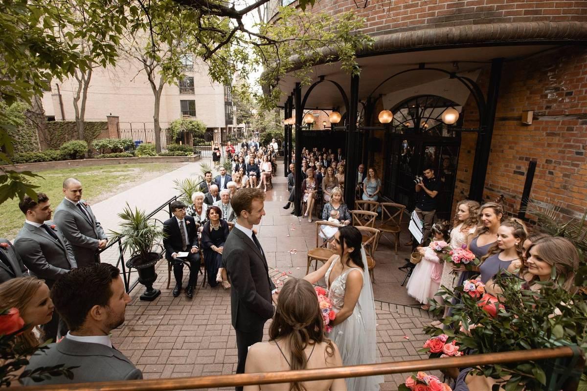 la maquette outdoor patio wedding ceremony