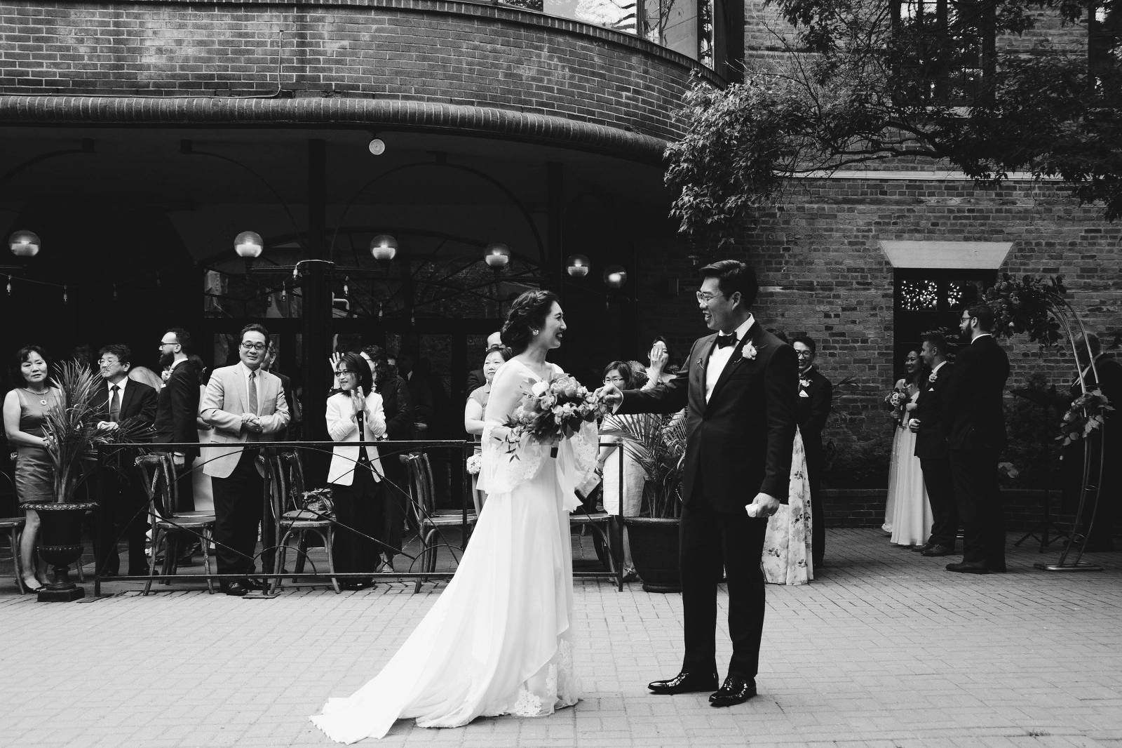 Bride and groom at toronto sculpture garden
