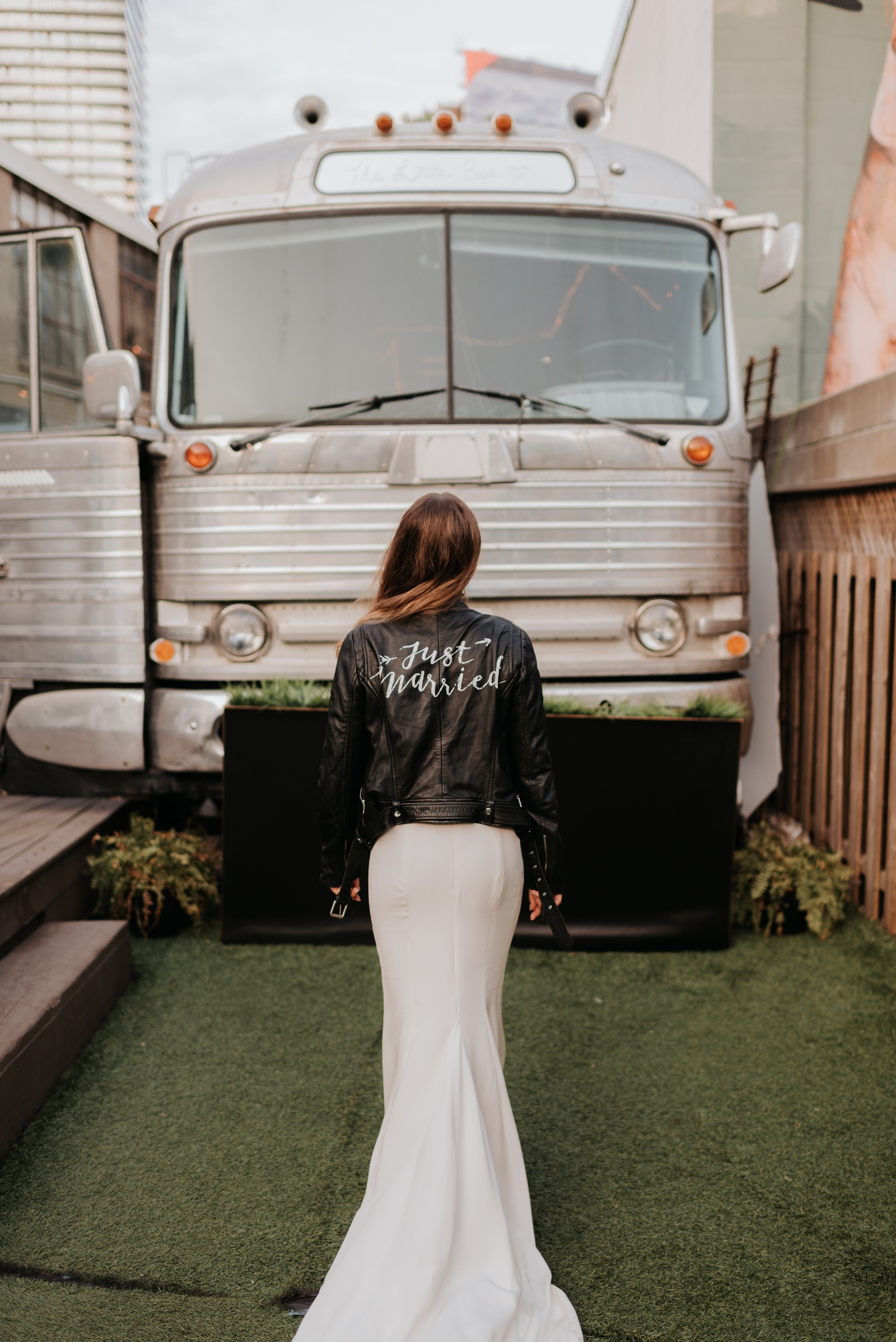 Leather just married jacket bride