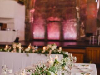 Simple white and lush greenery wedding reception centerpieces Berkeley Church Toronto