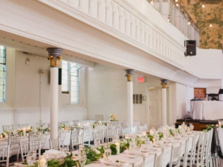 Harvest table wedding reception decor set up at Berkeley Church Toronto