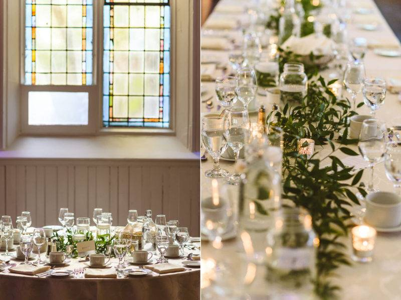 Simple white and greenery wedding reception at the berkeley church toronto