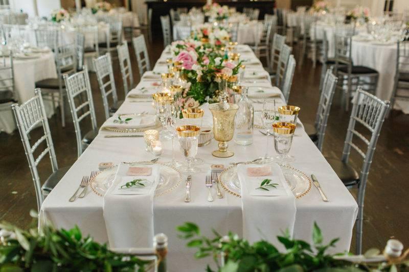Gold and white wedding reception decor at Berkeley church Toronto