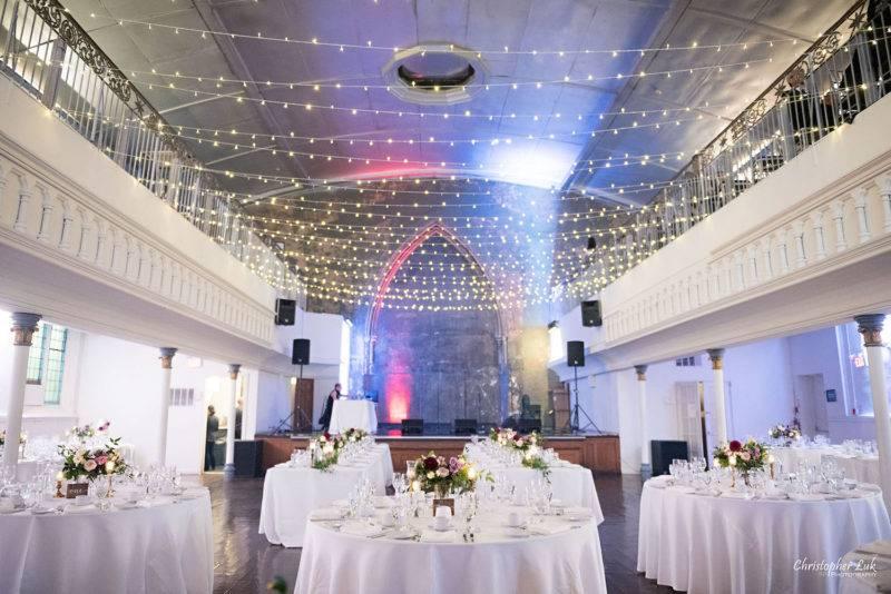 Purple greenery and white wedding reception at toronto berkeley church