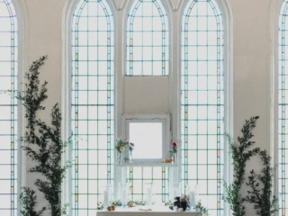 Simple floral wedding ceremony set up at The Berkeley Church