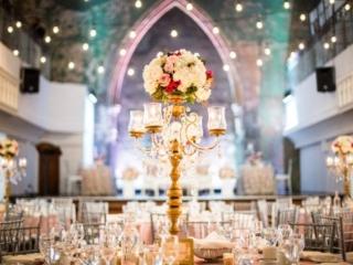 Elegant gold candelabra wedding reception at the Berkeley Church Toronto