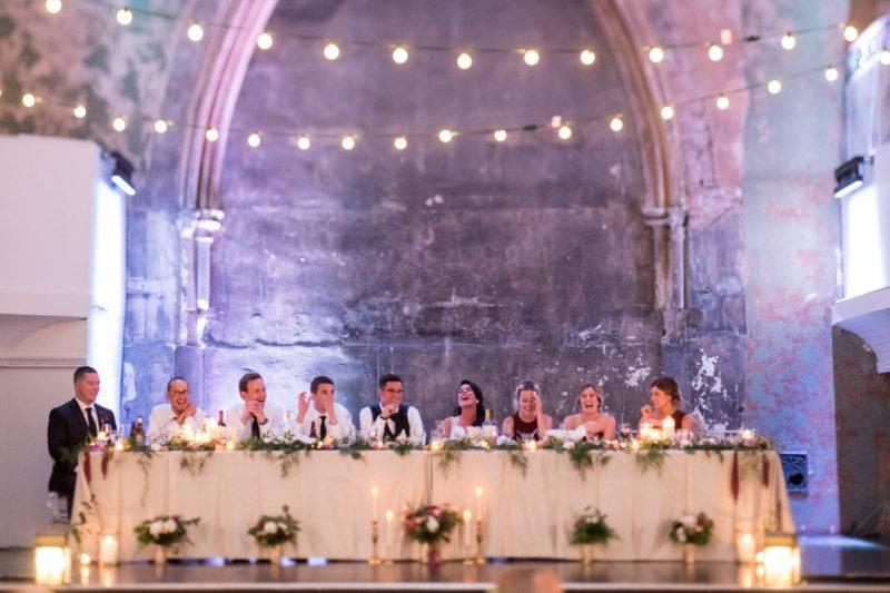 Rustic wedding reception head table at toronto berkeley church