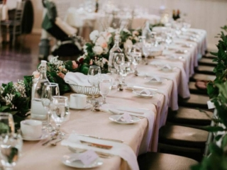 Green, white and pink wedding reception decor at Berkeley church Toronto