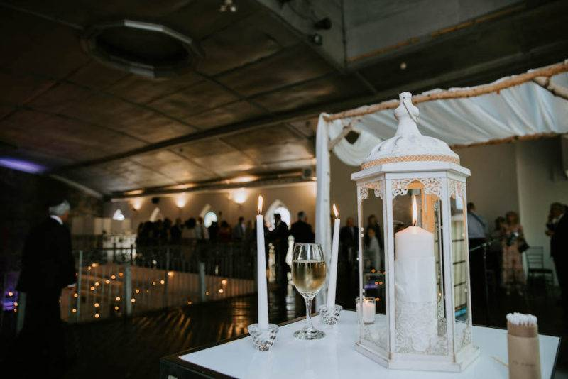 Wedding ceremony lantern decor Berkeley Church