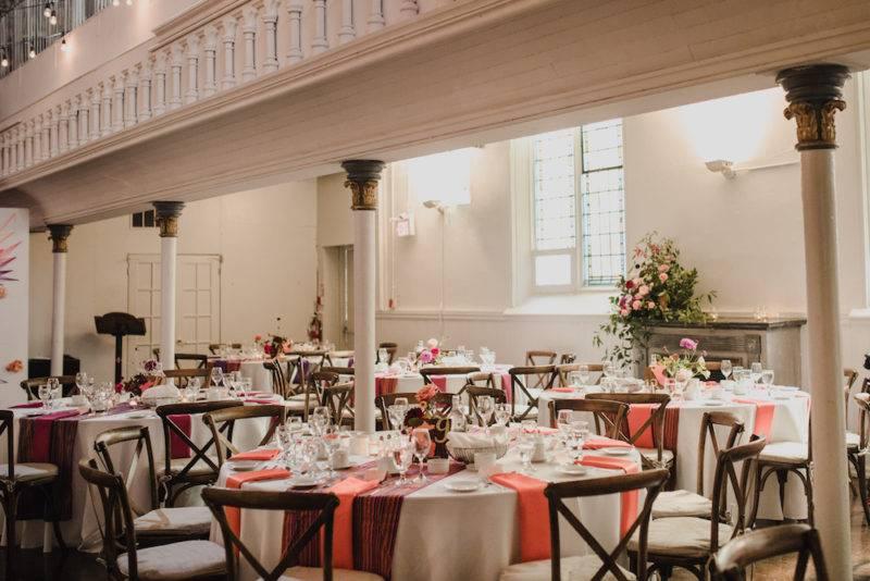 Simple wedding reception with pops of colour berkeley church toronto