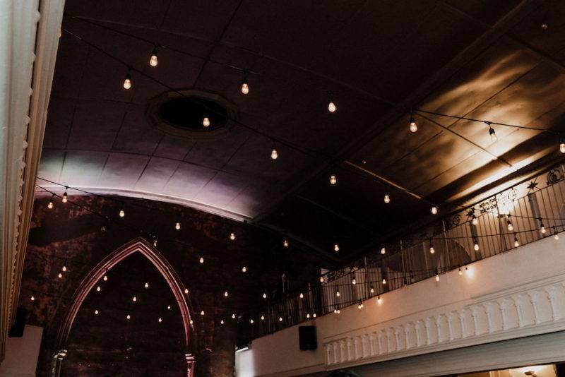 Twinkle lights at the berkeley church toronto wedding venue