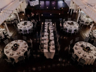 Black and white wedding reception at the historic berkeley church in Toronto