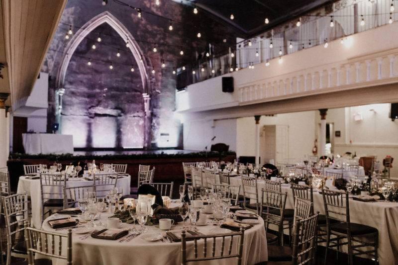 Elegant black and white wedding reception at the historic berkeley church in Toronto