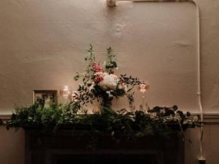 The Berkeley Church Floral arrangement on fireplace