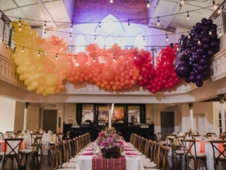Bright exotic balloon wedding reception installation at the berkeley church toronto